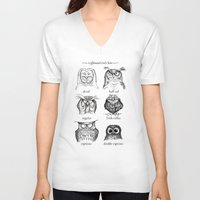 big bang theory V-neck T-shirts featuring Caffeinated Owls by Dave Mottram
