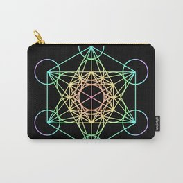 Metatron's Cube- Rainbow on Black Carry-All Pouch