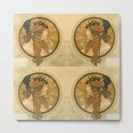 "Alphonse Mucha ""Byzantine Head: The Brunette"" Metal Print"