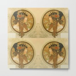 "Alphonse Mucha ""Byzantine Head: The Brunette"" Metal Print"
