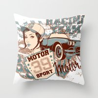racing Throw Pillows featuring Racing Team by Tshirt-Factory