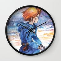 nausicaa Wall Clocks featuring The cloudy Sky in the Valley by LucioL