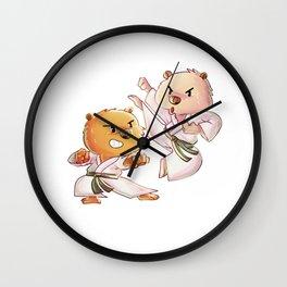 Hand to Hand Wombat, Wombat Karate, Funny Australian Wombat Karate Boy Karate Girl Wall Clock