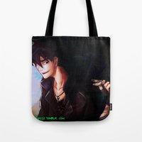 percy jackson Tote Bags featuring Son of Hades Percy Jackson by TreyCain03