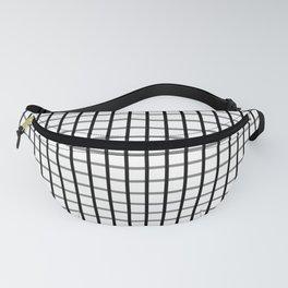 Big squares- Black on White grid pattern Fanny Pack