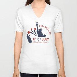 Celebrating 4th of July with my French Bulldog Unisex V-Neck