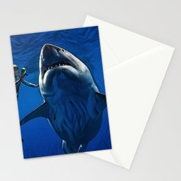 Cold Beauty - Woman Scuba Diving with Great White Shark Portrait Painting Stationery Cards