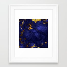 Gold Blue Indigo Malachite Marble Framed Art Print