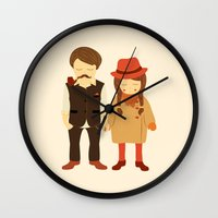 thanksgiving Wall Clocks featuring Thanksgiving Happiness by Elena Kouvaros