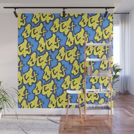 Stay Graffiti Pattern - Blue Honey Wall Mural