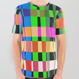 inclined coloured stripes All Over Graphic Tee