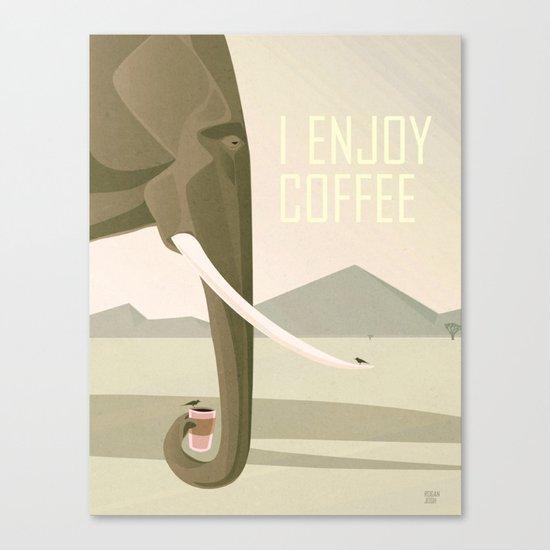 Elephant Enjoys Coffee Canvas Print