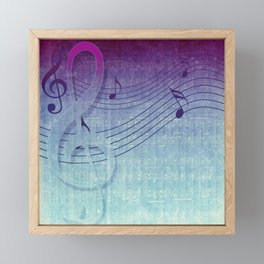Aqua Purple Ombre Music Notes Framed Mini Art Print