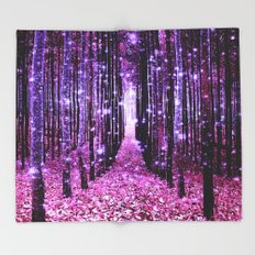 Magical Forest Pink & Purple Throw Blanket