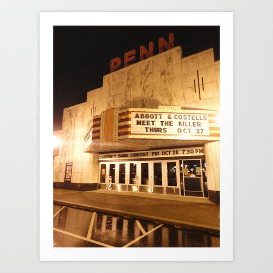 Rainy Night At The Penn Theater Art Print