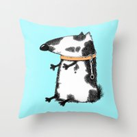 dog Throw Pillows featuring DOG by Кaterina Кalinich