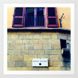 Ponte Vecchio Sign Art Print