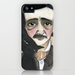 Edgar Allan Poe and the Black Cat iPhone Case