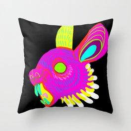 Neon Rabbit Throw Pillow