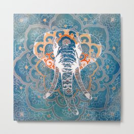 Asian Pattern with elephant original painting print by miart Metal Print