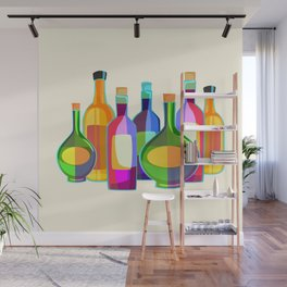 Colored Glass Bottles Wall Mural