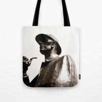 sherlock holmes Tote Bags featuring Sherlock Holmes by sopheyrac