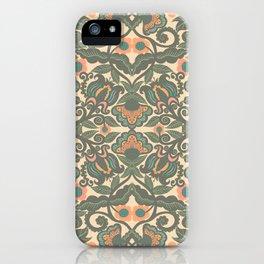 Green Vines Folk Art Flowers Pattern iPhone Case