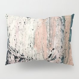 Kelly: a bold, textured, abstract mixed media piece in bright pinks, blues, and white Pillow Sham