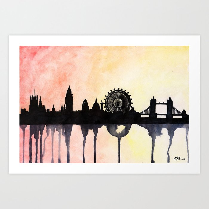 london watercolour skyline art print by paintthemoment society6