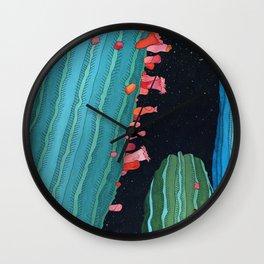 Midnight Cactus Conversations Wall Clock