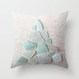 Sea Foam Sea Glass Christmas Tree #Christmas #seaglass Throw Pillow