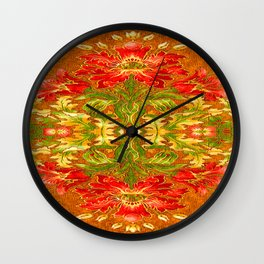 French Tapestry Style Red Poppy Floral Wall Clock