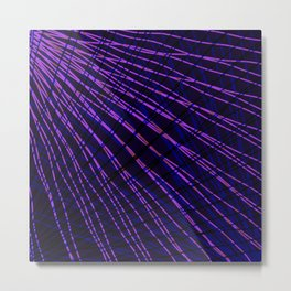 Many rays of violet light with symmetrical bright waves on black. Metal Print