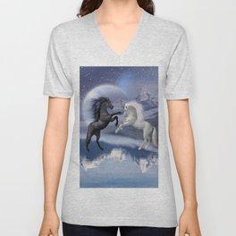 Horses and Moon Unisex V-Neck