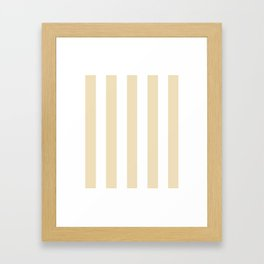 Dutch white pink - solid color - white vertical lines pattern Framed Art Print