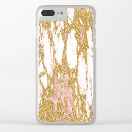 Gold Marble - Intense Glittery Yellow and Rose Gold Marble Clear iPhone Case