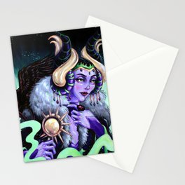Sleeping Beauty Dark Fairy Queen Painting Stationery Cards