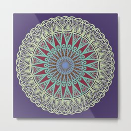 Coral Delight Mandala - LaurensColour Metal Print