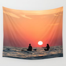 man woman boat rowing in sea Wall Tapestry