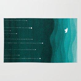 Falling stars, sailboat, teal, ocean Rug