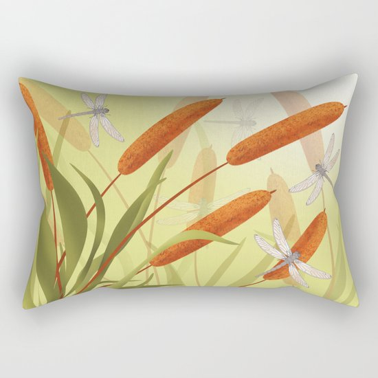 the reeds and dragonflies on the rising sun background Rectangular Pillow