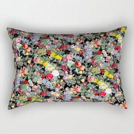 Vivid Vintage Botanical Wildflowers Peony Floral Watercolor Rectangular Pillow