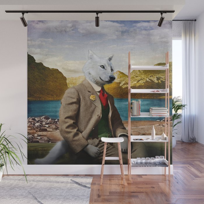 Mr. Wolf Relaxing at the Lake Wall Mural