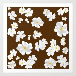 White Boboli Flower - Brown Art Print
