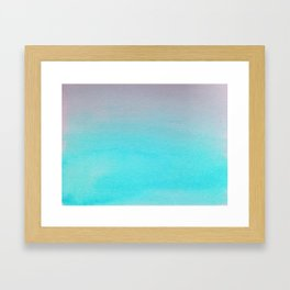 Ombre watercolor turquoise Framed Art Print