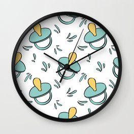 Children items in cartoon style. Hand drawn baby pacifier. Wall Clock