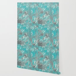 feathered lines in teal Wallpaper