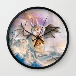 Galaxy Cat Dragon Eating Pizza In Space Wall Clock