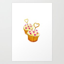 Valentine Cupcakes Art Print