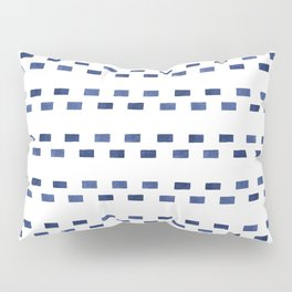 Modern geometrical navy blue watercolor stripes Pillow Sham